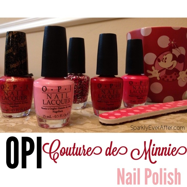 OPI Minnie Mouse 2013. The Couture de Minnie nail polishes. Left to right: Magazine Cover Mouse, Chic From Ears to Tail, Minnie Style, Innie Minnie Mightie Bow, A Definite Moust-Have