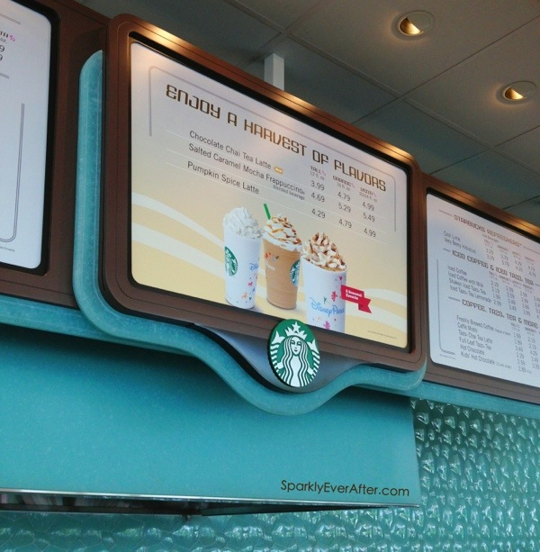 Fall menu items at the EPCOT Starbucks and those magical Disney Parks Starbucks cups we all love.
