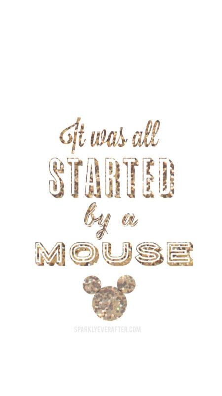 It was all started by a mouse Disney iPhone background | SparklyEverAfter.com
