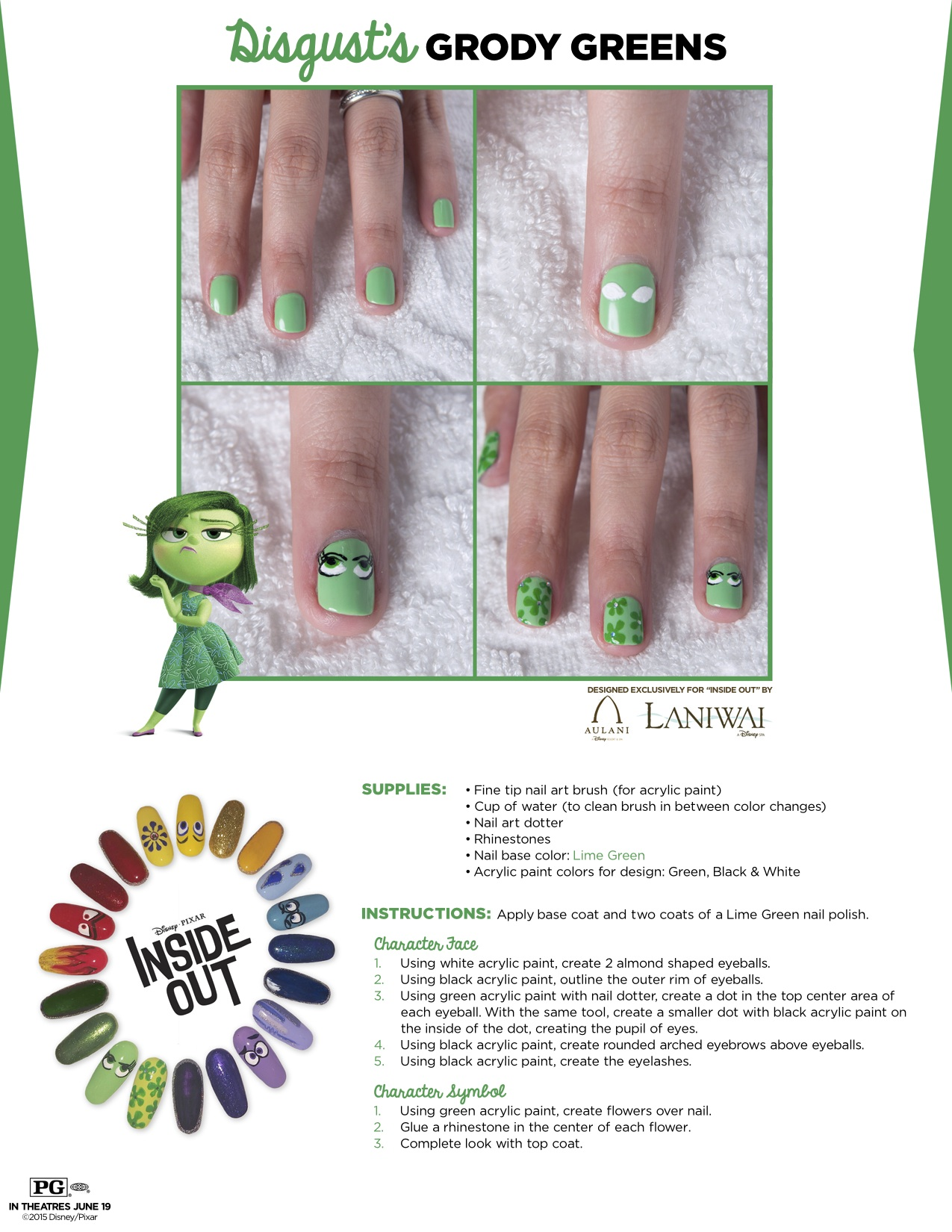 Disney coloring inside out -  Inside Out Nail Tutorial Disgust Sparklyeverafter Com