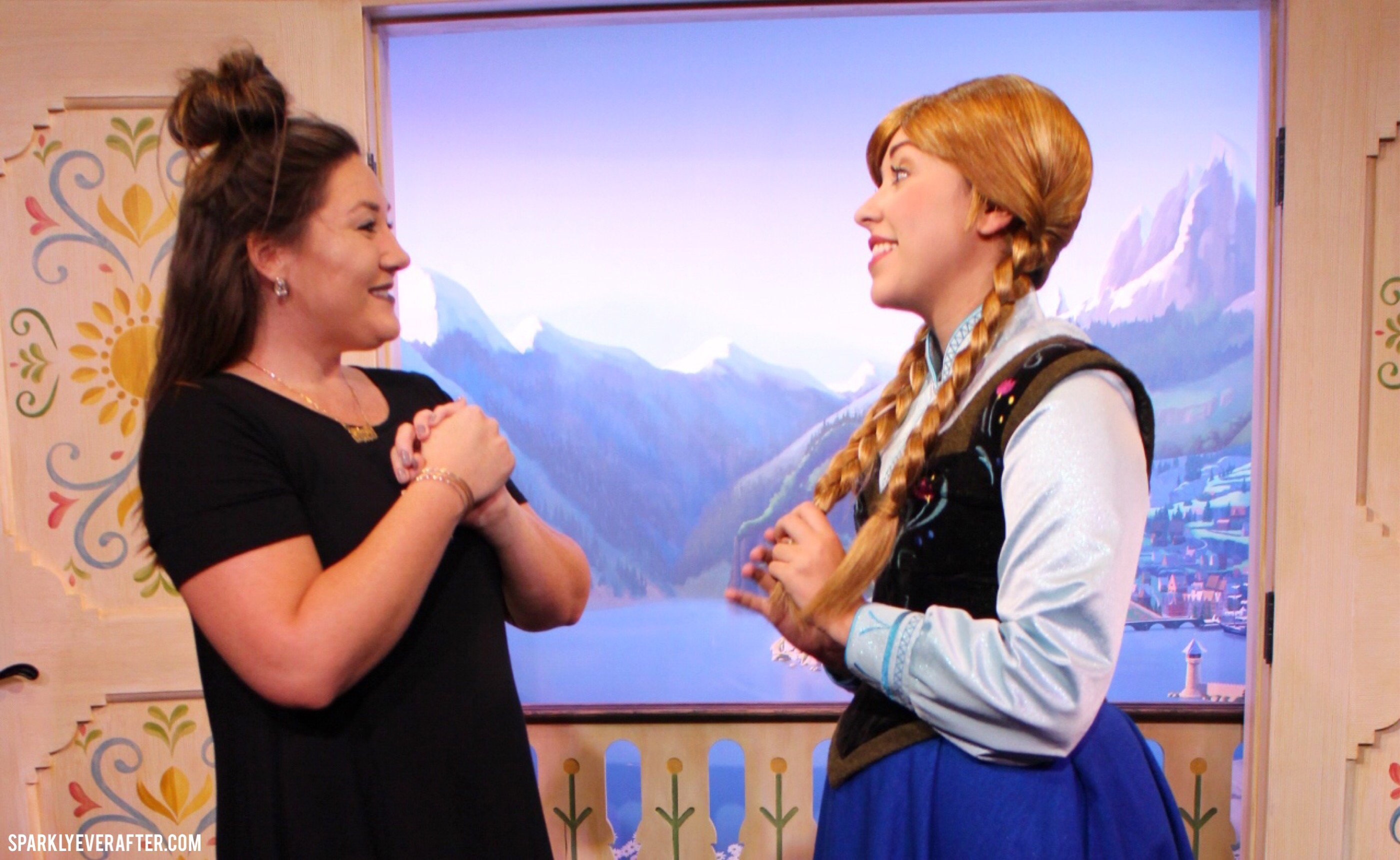 Elsa and anna epcot meet greet more sparklyeverafter maelstrom tapestry in royal sommerhus queue epcot norway pavilion frozen royal sommerhus elsa and anna meet and greet sparklyeverafter kristyandbryce Gallery
